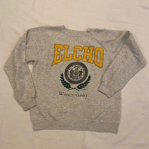 Vintage ELCHO Wisconsin 1992 Gray Sweater Size Lrg